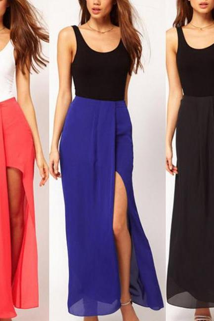 Sexy Chiffon Side Slit Maxi Skirt