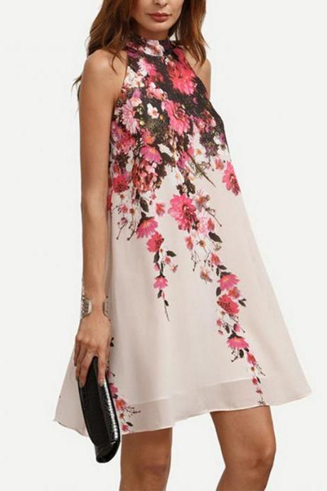 Chic Chiffon Floral Print Summer Dress