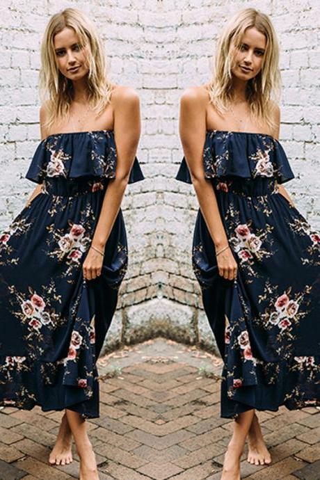 Blue Off Shoulder Boho Floral Print Maxi Dress