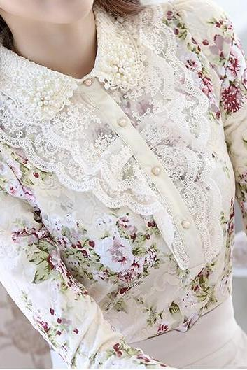 Beautiful Doll Collar Vintage Style Long Sleeve Blouse