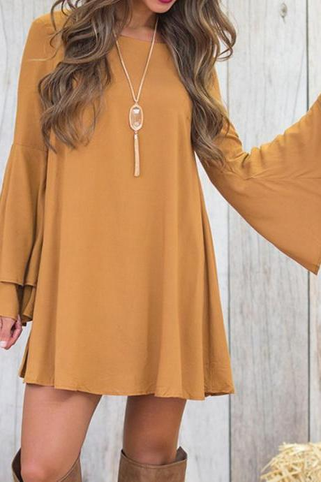 Casual Flare Sleeve Short Dress