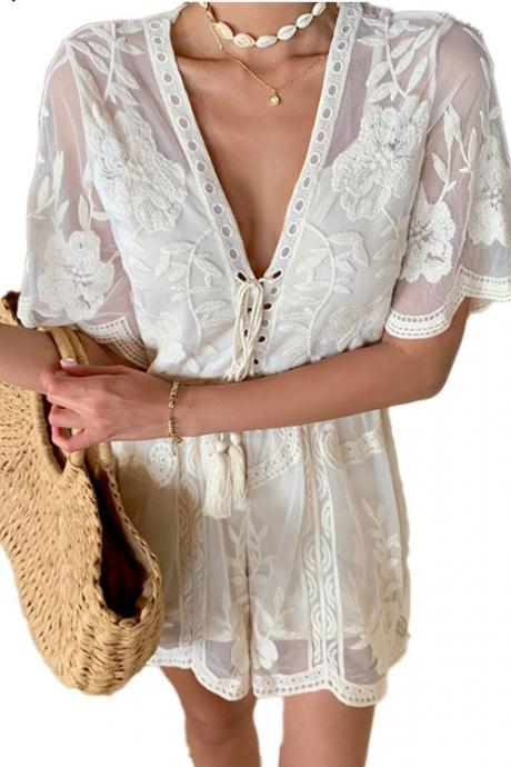Gorgeous Deep V Neck Lace Romper