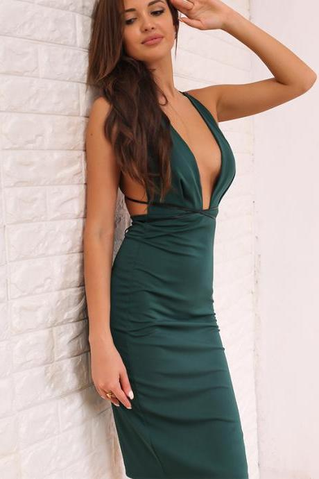Sexy Cross Back Green Party Dress