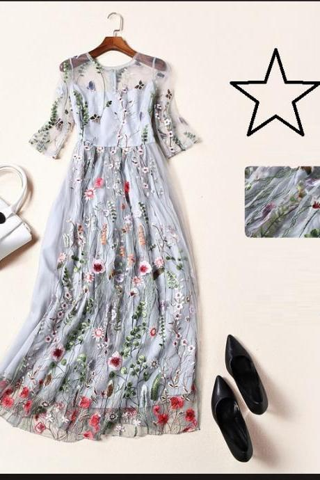 Floral Embroidery Elegant Long Dress