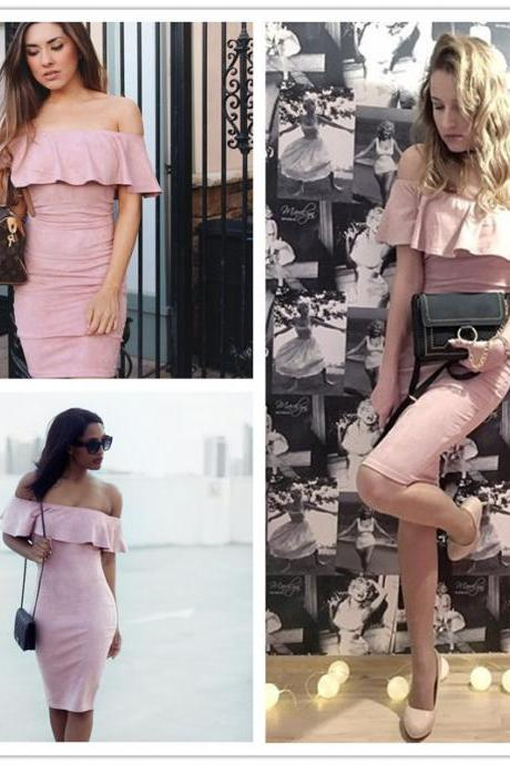 Pink Suede Off Shoulder Party Dress