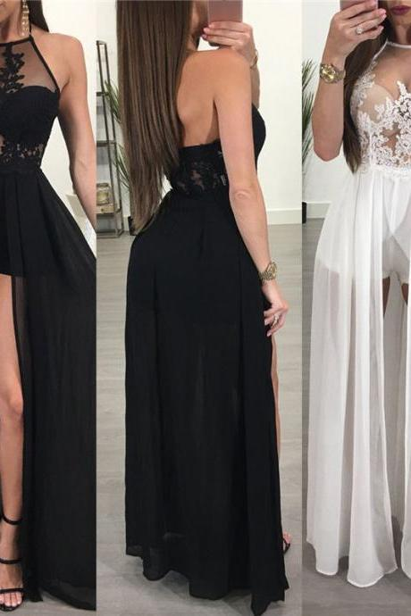 Chiffon and Lace Summer Party Long Dress in Black and White
