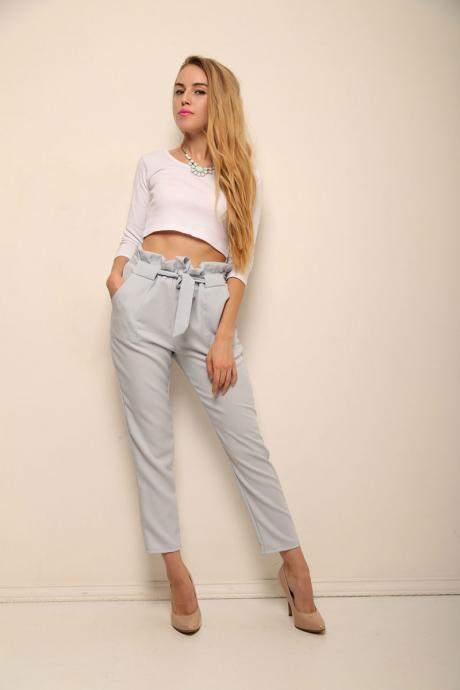 Chic Grey Chiffon high Waist Pants