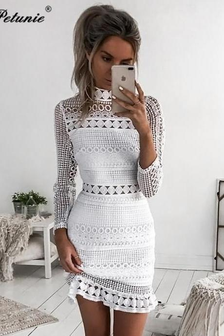 Lace Patchwork White Long Sleeve Dress