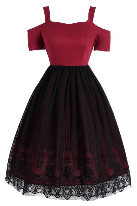 Off Shoulder Lace Mesh Party Dress in Red and Black