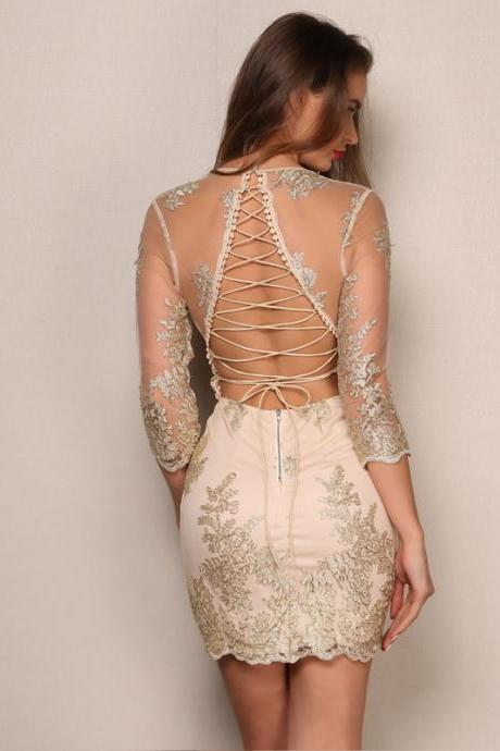 Elegant Backless Lace up Long Sleeve Party Dress