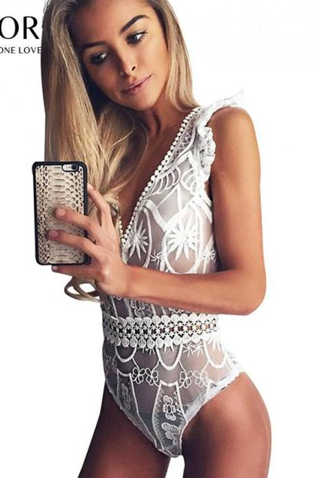 Sexy V Neck White Lace Bodysuit