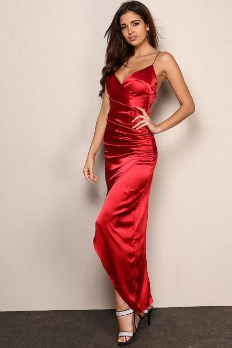 Red Spaghetti Strap Evening Party Dress