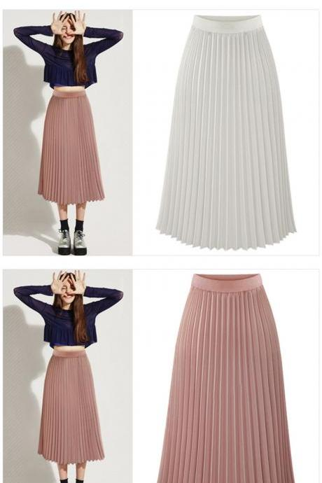 High Waist Chiffon Maxi Skirt in White Pink and Black