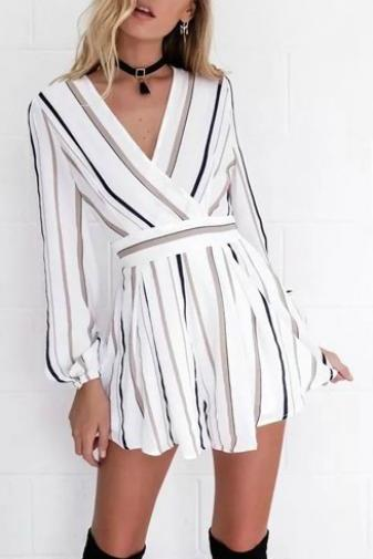 Sexy V Neck Striped Long Sleeve Romper