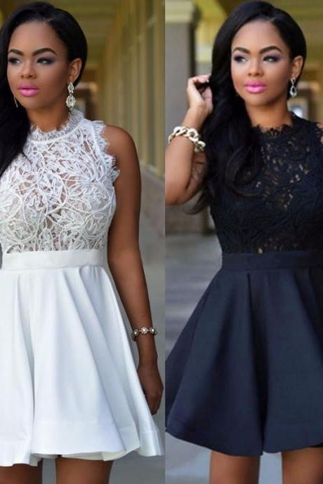 Sexy Lace Patchwork Skater Dress in Black and White