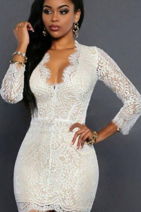 Sexy Back Long Sleeve White Lace Dress