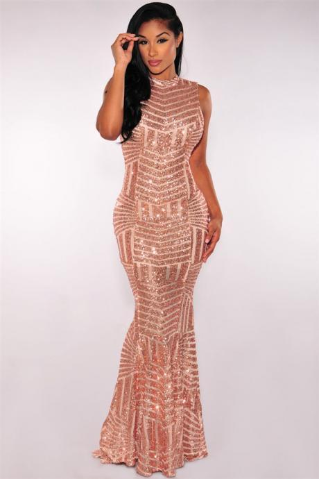 Gold Sequined Long Party Mermaid Dress