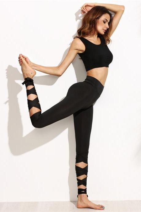 High Waist Elastic Lace up Leggings in Black