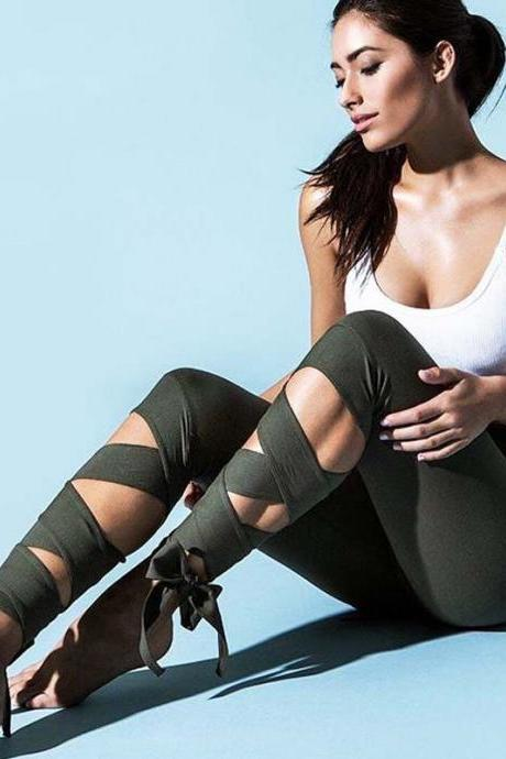 Lace up Green High Waist Leggings