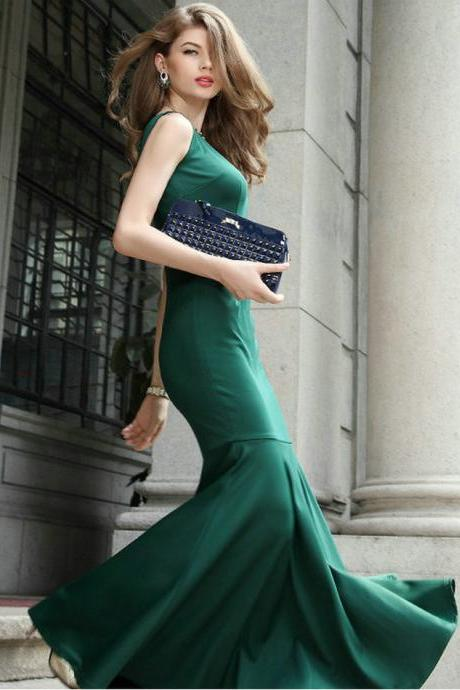 Green Elegant Long Mermaid Dress
