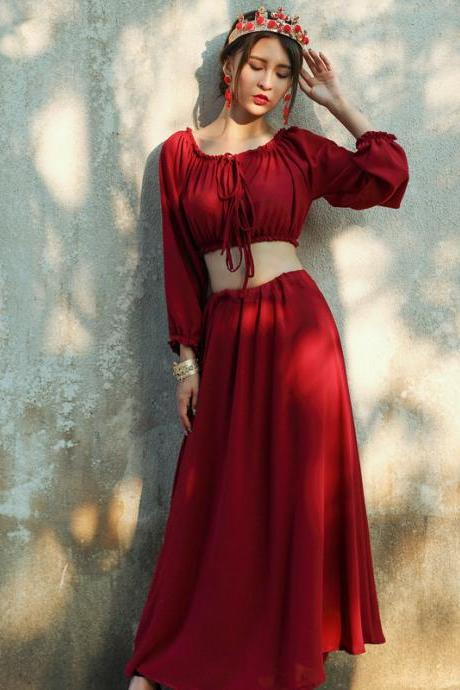 Gorgeous Red Boho Two Piece Top and Skirt Set
