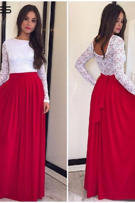 Long Sleeve Lace Patchwork Long Dress