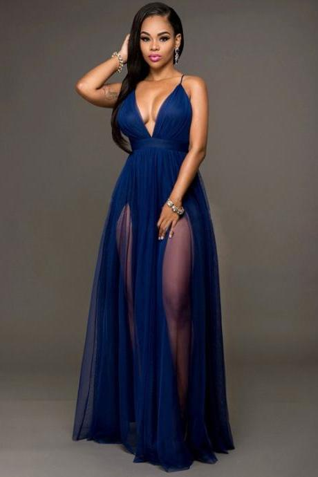 Sexy Blue Cross Back V Neck Long Evening Dress