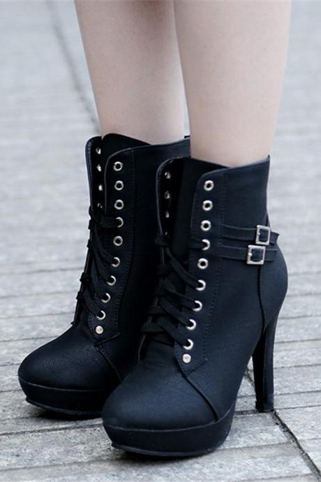 Autumn Winter Black Lace Up Ankle Boots