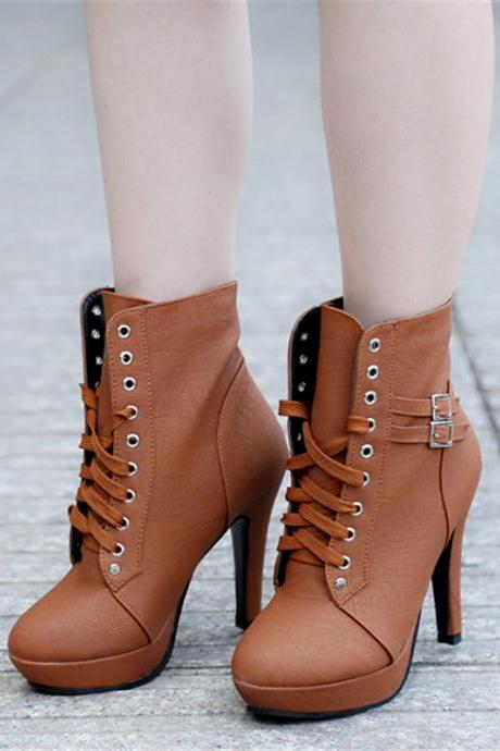 Brown Autumn and Winter Ankle Boots