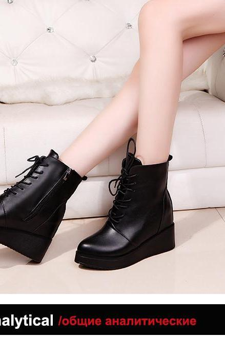 Black Lace up Side Zip Platform Shoes