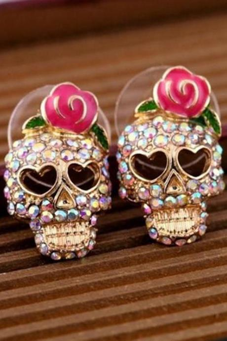 Cute Skull Rose Earrings