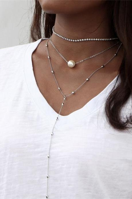 Pearl and Rhinestone Lariat Style Layered Choker Statement Necklace