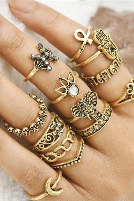 Silver and Gold Boho Lotus Midi Knuckle Ring Set For Women