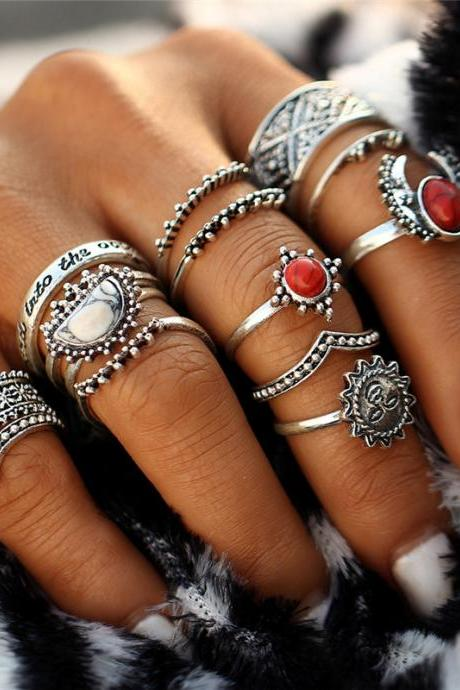 Tibetan 14 Pieces Sun Moon Silver Boho Ring Set