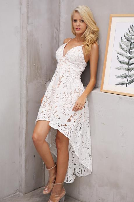 Sexy White Lace V Neck Irregular Hem Party Dress