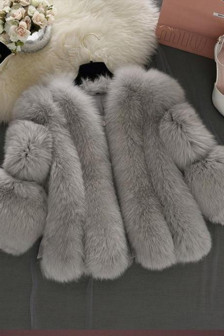 Classy Faux Fur Coats in Grey and Pink