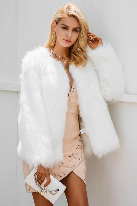 Casual White Faux Fur Coat