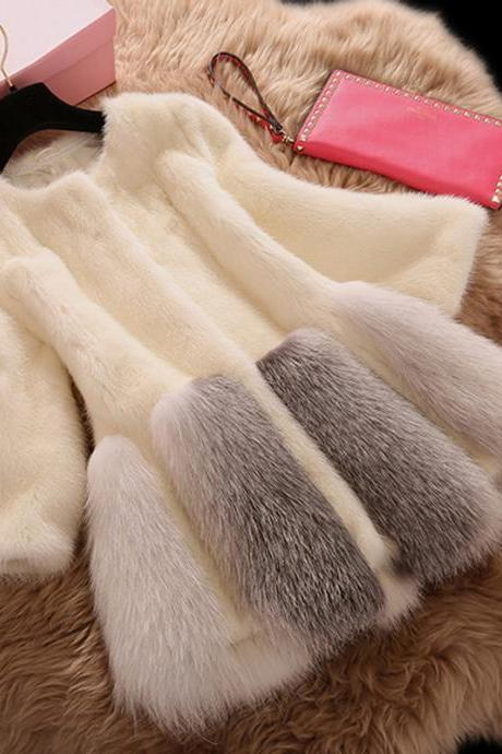 Beautiful Warm Winter Faux Fur Coat in Black and White