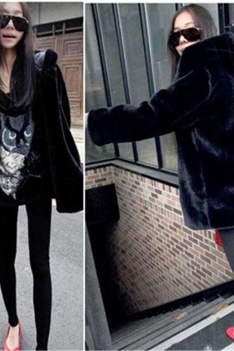 Black Hooded Faux Fur Winter Coat