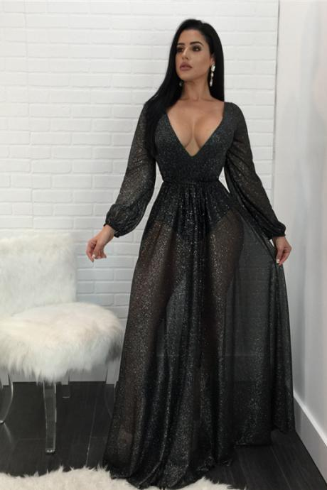 Elegant V Neck Black Long Sleeve Party Maxi Dress