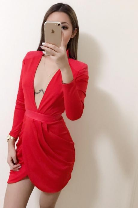 Deep V Neck Long Sleeve Bodycon Dress