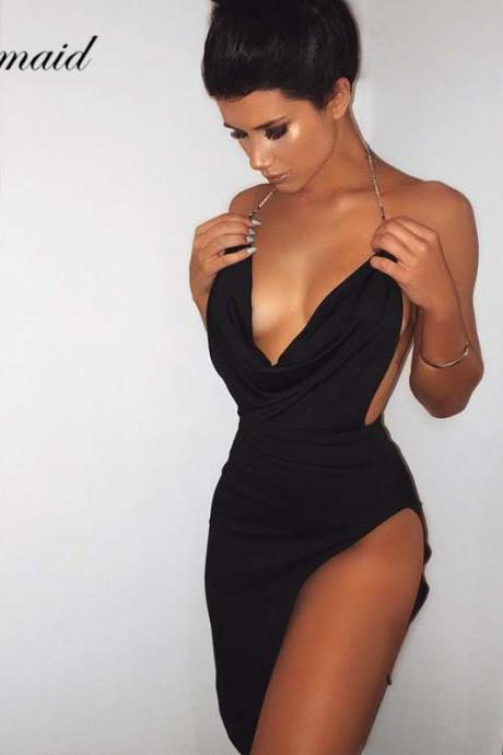 Sexy Bodycon Side Slit Party Dress in Black and White