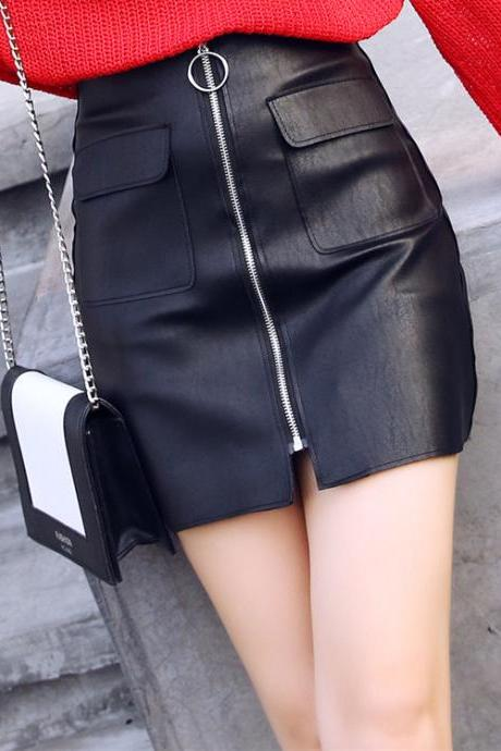 Sexy Zip Up PU Leather Skirts