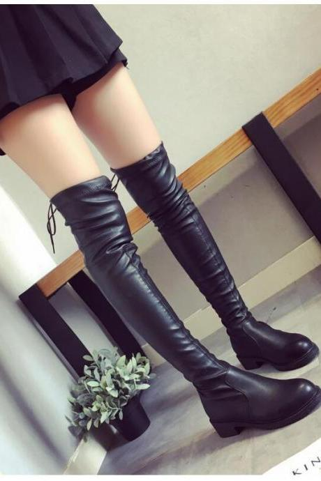 Black Lace up Over the Knee Winter Boots