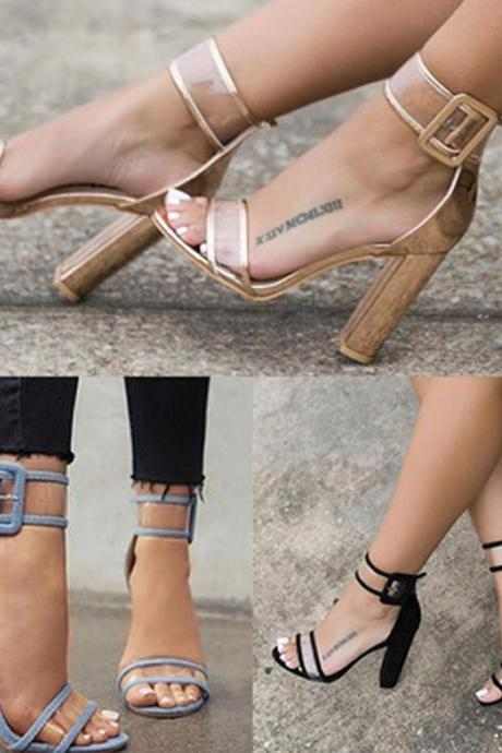 Sexy Ankle Strap Transparent Style High Heels Fashion Sandals