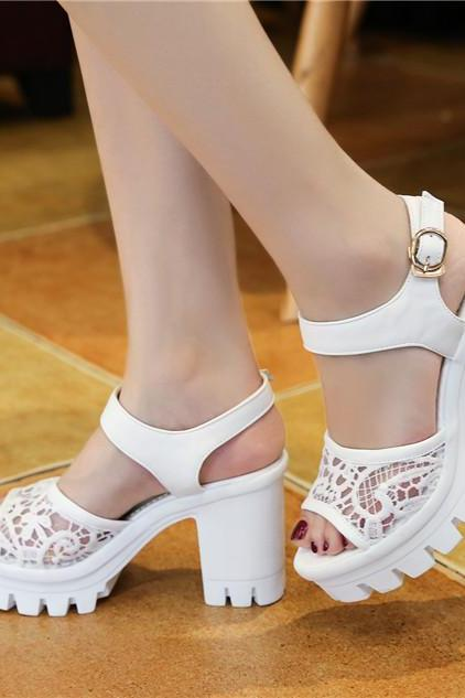 White Chunky heels Sandals with Beautiful lace Details