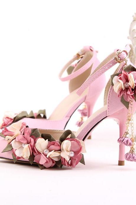 Beautiful Flowers and Pearls Ankle Strap Pointed toe Party High Heels Fashion Shoes