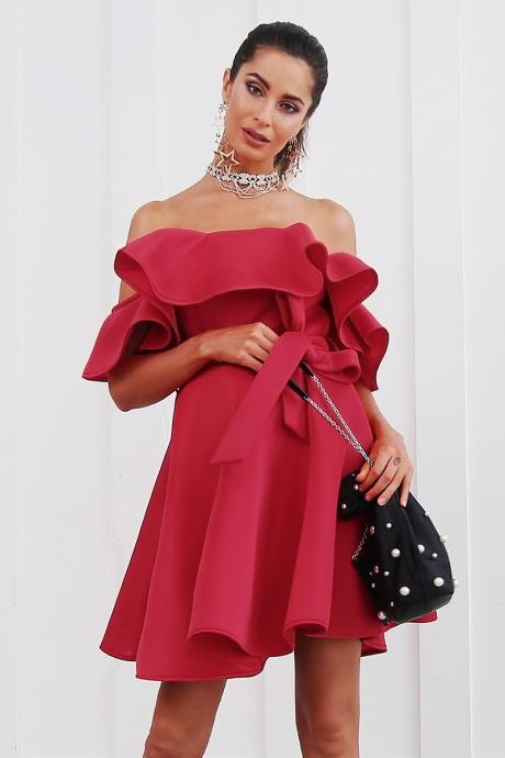 Ruffled Off Shoulder Red Party Dress