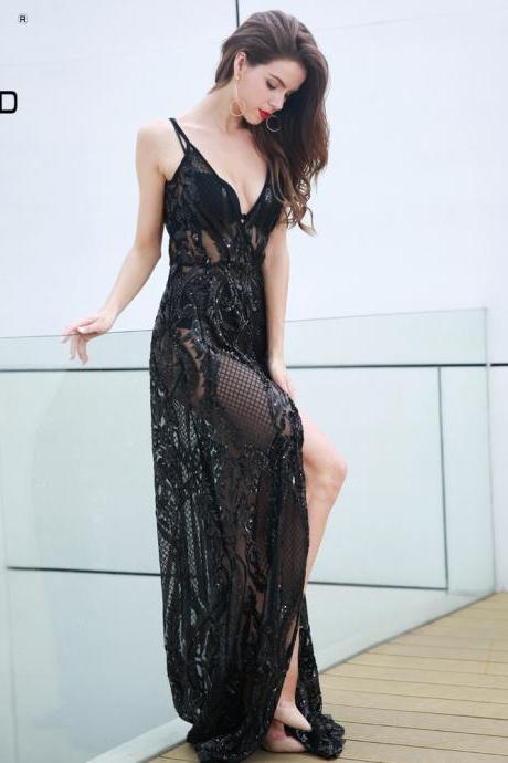 Sequined Sexy Black Backless Long Party Dress