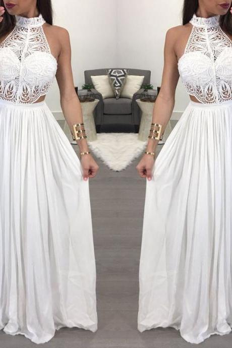 Beautiful Sleeveless Halter Long Lace Dresses